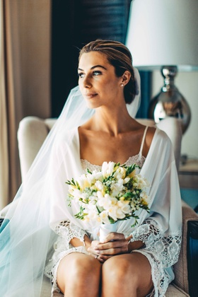 bride robe veil bouquet getting ready beauty white yellow flower greenery mexico wedding