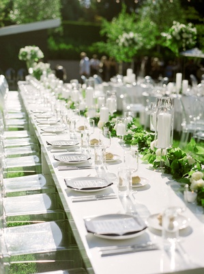 la rams brandin cooks wedding briannon lepman, long king's table white with greenery