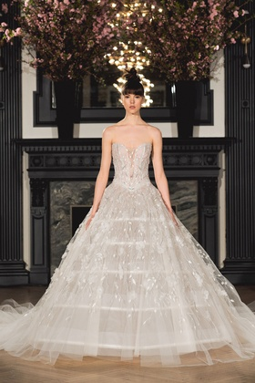 Ines Di Santo Spring 2019 collection strapless v-neck ball gown with pants