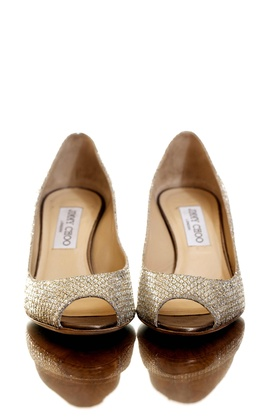 Gold textured Jimmy Choo wedding shoes