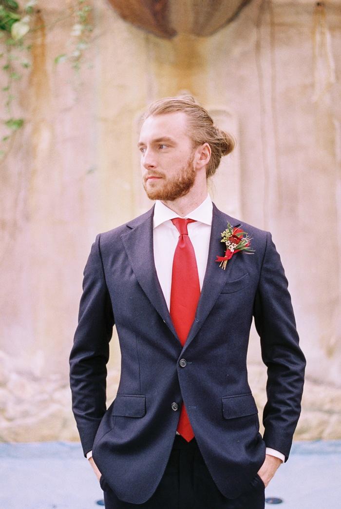 Groom Navy Red Ensemble Suit Tuxedo Beauty Beast Movie Styled Wedding Shoot Prince Man Bun Hair
