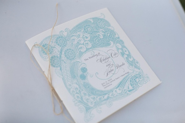 Ceremony program with blue intricate design