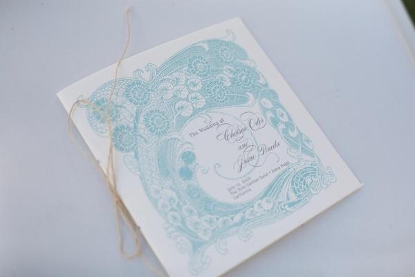 Ceremony program with blue intricate design