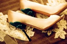 Satin open-toe pumps with blue heel