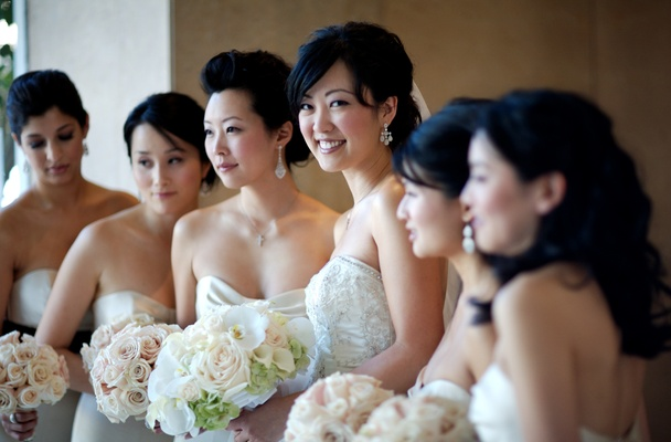 Bride and bridesmaids in strapless dresses
