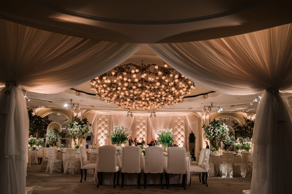 Ballroom wedding reception chandelier drapery tufted wall for band stage white chairs and greenery