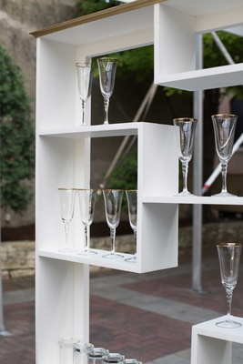 glassware display shelf for southern-inspired wedding white shelving unit