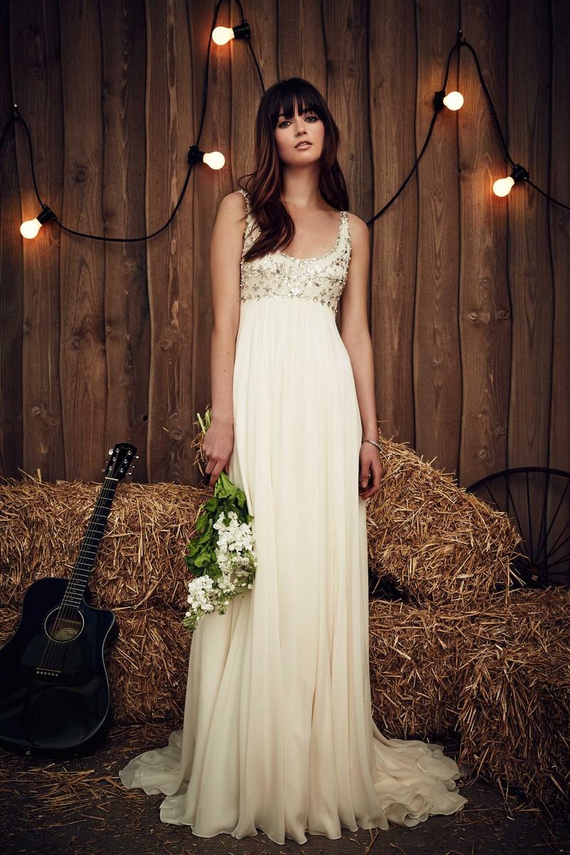 jeweled wedding dress Jenny Packham Bridal Collection Candie empire waist wedding dress straps jewel bodice sheath