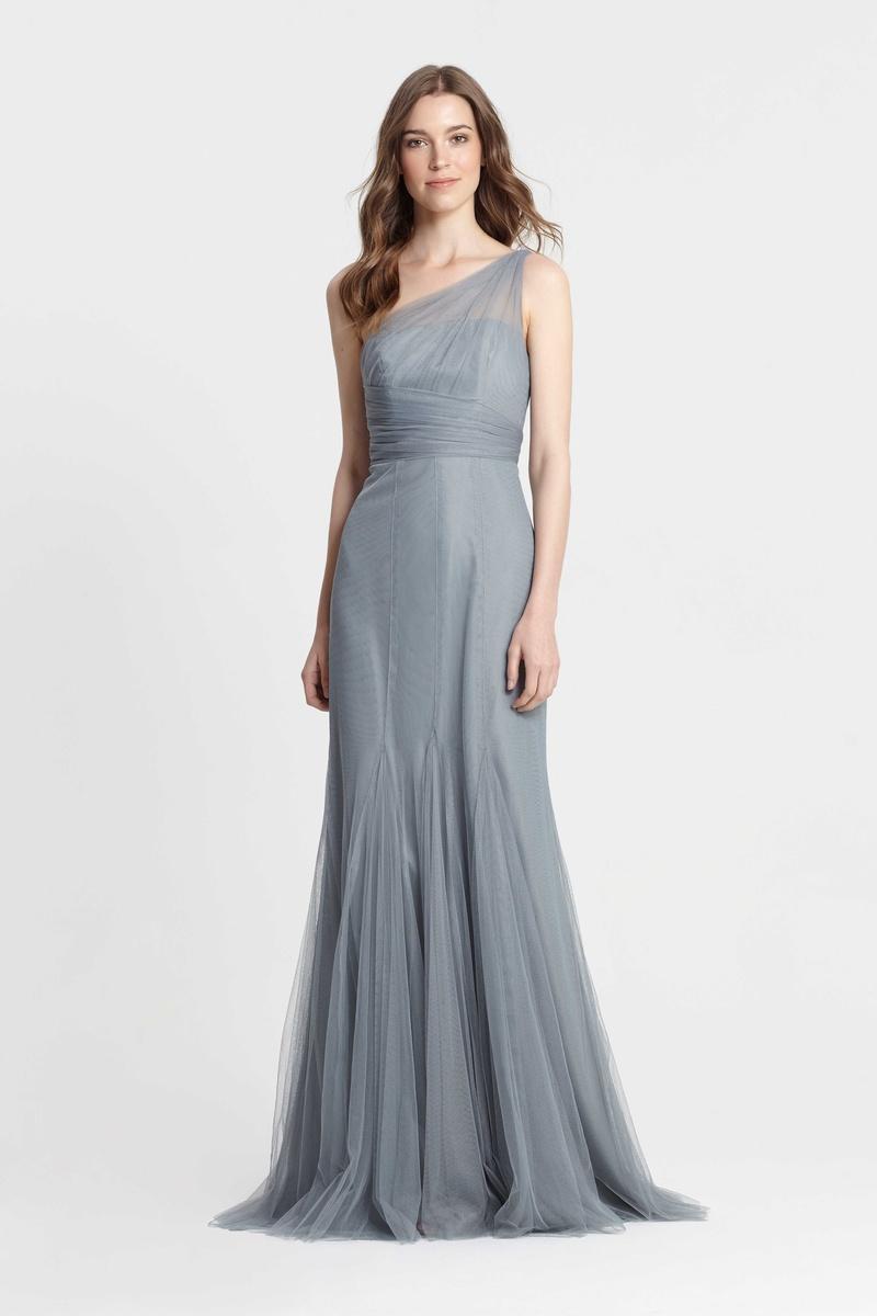 887d39f1572 Monique Lhuillier Bridesmaids spring 2017 one shoulder blue gown godet  skirt drape bodice long