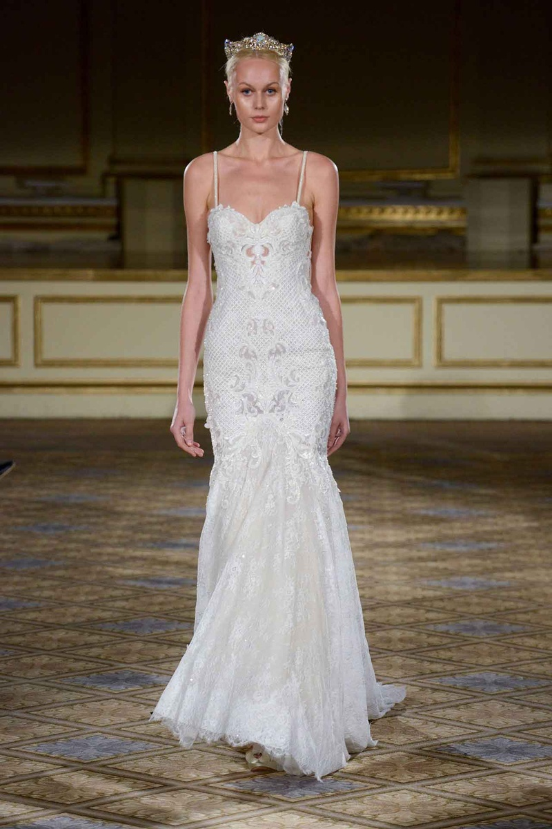 berta fw16 drop waist gown with straps spaghetti strap wedding dress Berta Fall Winter trumpet wedding dress with lace skirt