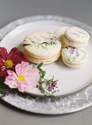 wedding event dessert on plate macaron french dessert hand painted with flower print design wisteria