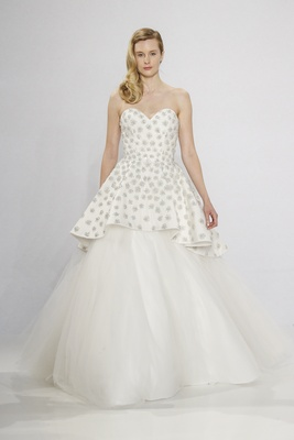 Christian Siriano for Kleinfeld Bridal strapless wedding dress with sweetheart neckline jewel bodice