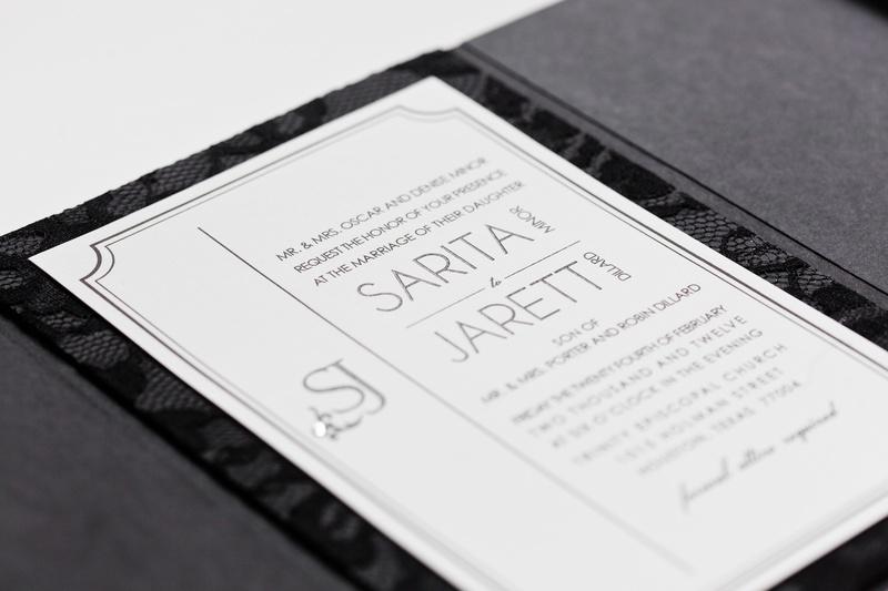 Jarett Dillard black and white wedding invite