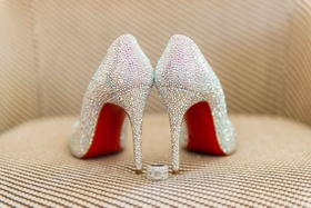 Christian Louboutin red sole wedding shoes heels rhinestones crystals glitter high heels and ring