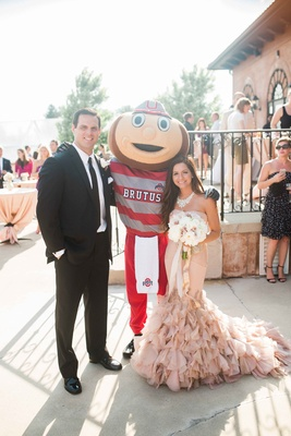 wedding with brutus buckeye, ohio state university, bride in blush vera wang, groom in black by vera