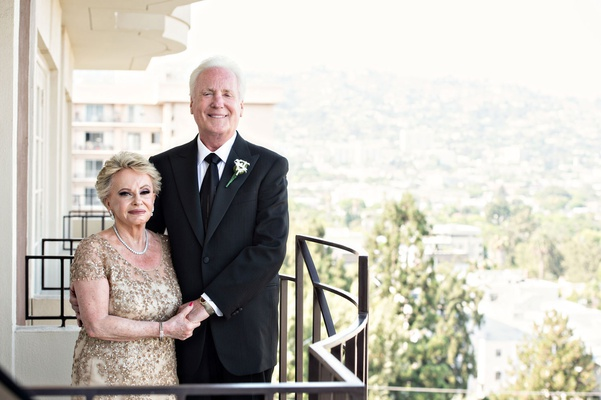 Vera Guerin and Paul Guerin anniversary party fifty years gold dress black white suit beverly hills