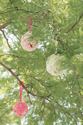 Ball of flowers and ribbon hanging from tree