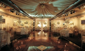 Room shot of ballroom wedding reception with white color palette