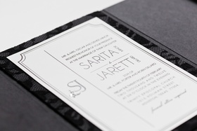 Jarett Dillard black and white wedding invite