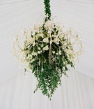 crystal chandelier accented with greenery and ivory roses at tented wedding reception