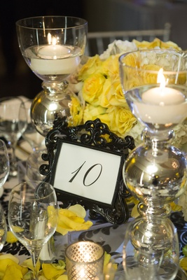 Table number in baroque black frame with yellow flowers