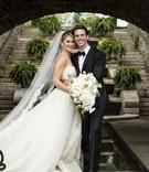 groom bride holding large bouquet wedding cincinnati Zuhair Murad gown veil outdoor pose smiles