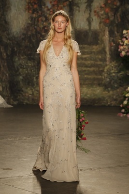 """ivory bias cut """"Octavia"""" gown with allover silver embroidery by Jenny Packham"""