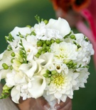 White dahlia and calla lily wedding bouquet