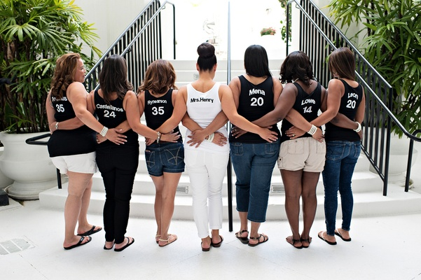 african american bridesmaids in custom tank tops