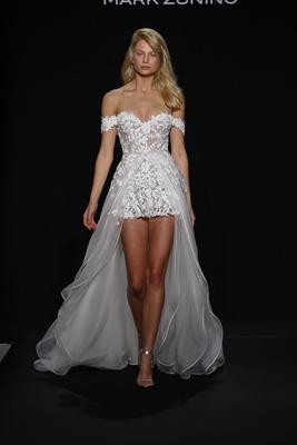 Mark Zunino for Kleinfeld 2016 romper wedding dress with over skirt