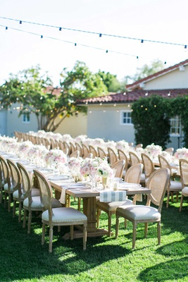 The Inn at Rancho Santa Fe outdoor wedding reception with long farm tables and rustic details