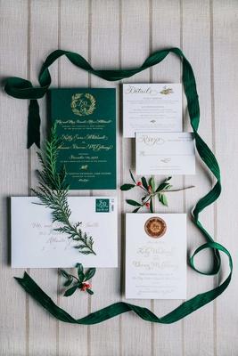 wedding invitation green invitation gold calligraphy velvet ribbon calligraphy gold