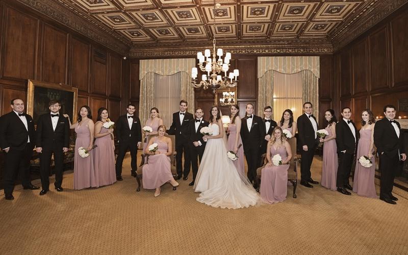 bride in essence of australia wedding dress, groom in bonobos tux, bridesmaids in monique lhuillier