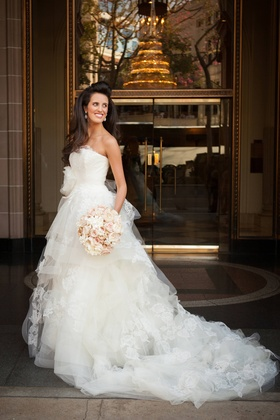 Strapless wedding dress with tulle and lace details