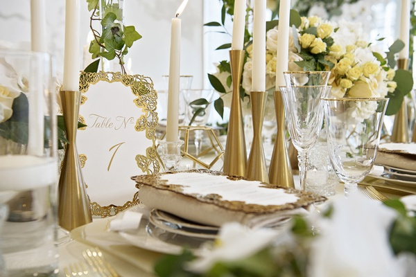 wedding table numbers with gold laser-cut border in rose design