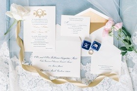 blue gold wedding invitation suite engagement rings bands flowers southern wedding sweet design