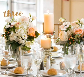 Peach, Green and Gold Centerpieces
