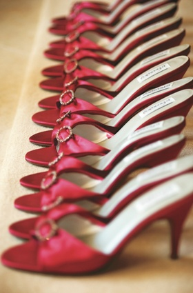 row of pink open toe sandals for bridesmaids