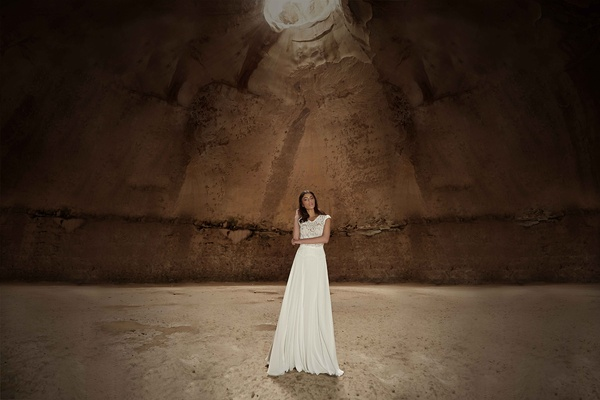 Limor Rosen 2017 Tribal wedding dress blouson bodice a-line chiffon skirt Tribal Collection
