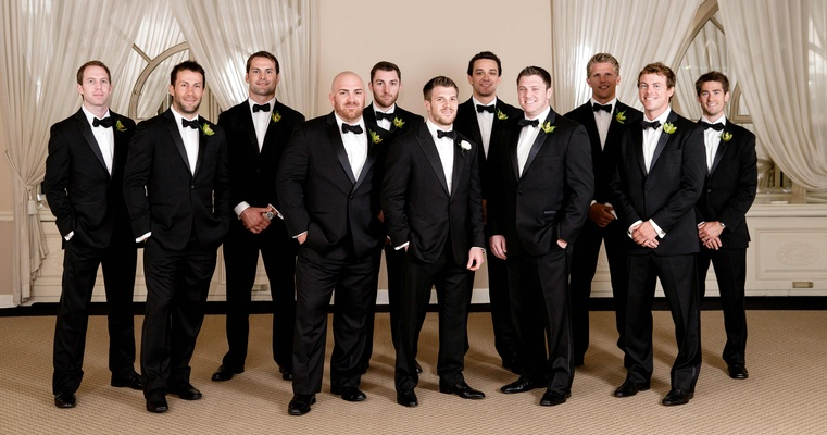 Hockey player Brett Sterling and his groomsmen