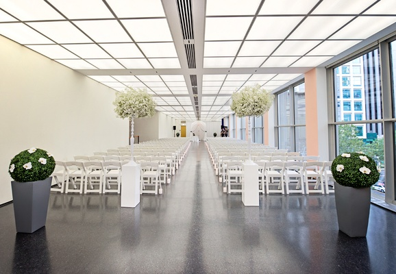 modern ceremony space white scheme wedding chicago clean city
