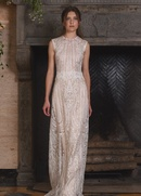 Claire Pettibone Four Seasons Couture Collection Solstice lace sheath bridal gown jewel neckline