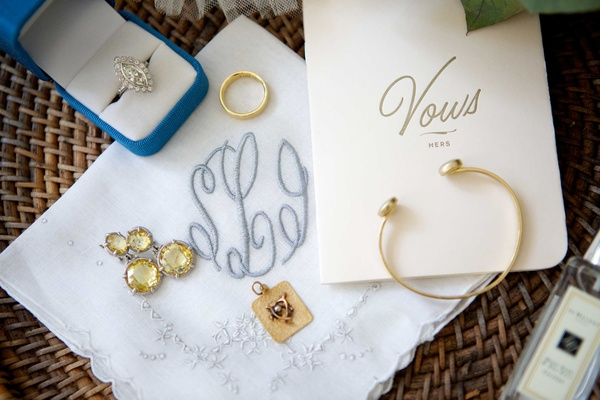 bride's day of jewelry engagement band vow book bracelet earrings handkerchief