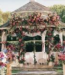 Flowers decorate ceremony gazebo