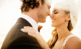 Wedding photo of MLB baseball pitcher Gerrit Cole and his bride Amy Crawford on their wedding day
