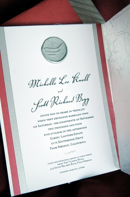 Scarlet and metallic wedding invitations