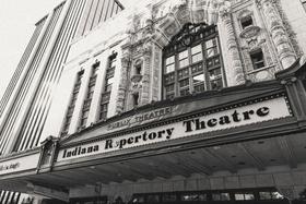 Black and white photo of theater theatre wedding venue in indianapolis indiana unique venue ideas