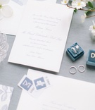 classic wedding invitation white blue floral envelope liner stamps calligraphy