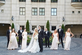 bride in vera wang gown groom in tuxedo with bridal party, bridesmaids in cream bridesmaid dresses