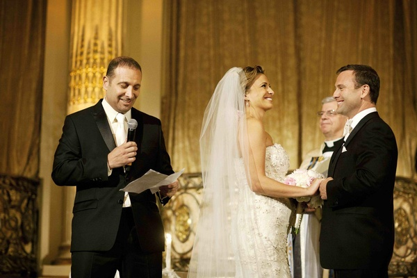 Donatella Arpaia and groom at golden ceremony at The Plaza